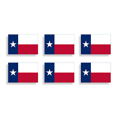 - 6 Mini Texas State Flag Sticker TX Cup Phone Helmet Vehicle License Tag Decal