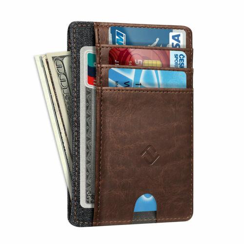 Mens RFID Blocking Leather Slim Wallet Money Clip Credit Card Slots Coin Holder