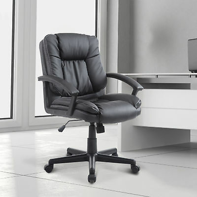 Adjustable Faux Leather Mid-Back Executive Office Chair Home Office Furniture BK