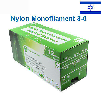 Nylon 30 Emergency First Aid Suture Home Wound Treat Trauma 12 Pcs