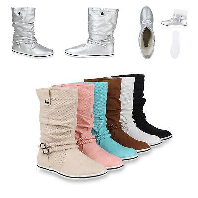 Bequeme Damen Stiefel Flache Schlupfstiefel 70991 Boots Gr. 36-41 Schuhe