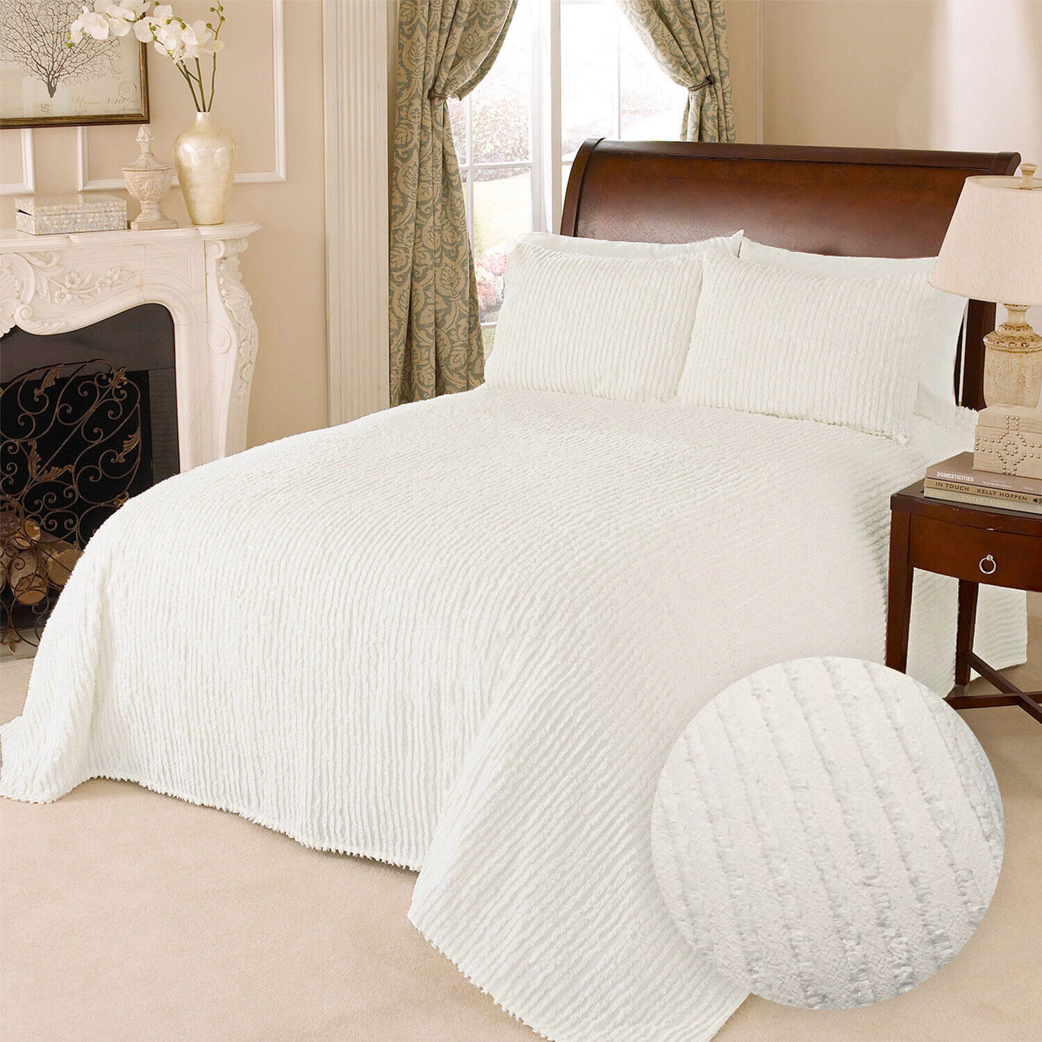 100% Cotton Tufted Chenille Stripe Bedspread Bedding Twin Full Queen King, White Bedding