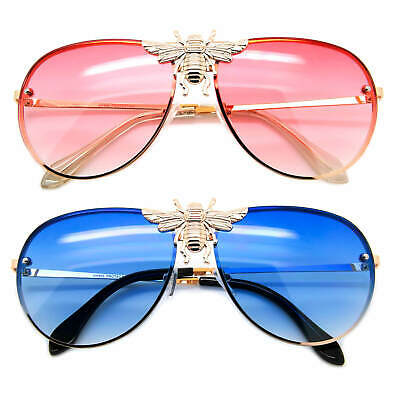 Hip Hop Bee Fashion Aviator Sunglasses Red Blue Designer Women Men Shades Gold (Gold Bee Sunglasses)
