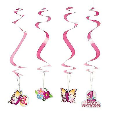 1st Birthday Butterfly Dangling Swirls 12 Pack-  Paper. Hangs approx. - Butterfly 1st Birthday Decorations