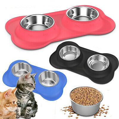 PAWABOO Set of 2 Stainless Steel Pet Dog Cat Food Water Feeder Bowl Rubber Base ()