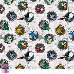 DC Comics II Batman Villains Cotton Fabric Joker Harley Quinn Penguin Catwoman