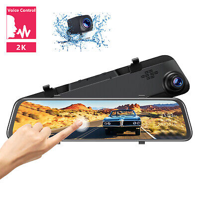 "TOGUARD 2K Mirror Dash Cam 12"" Voice Control Car Rearview Backup Camera Recorder"