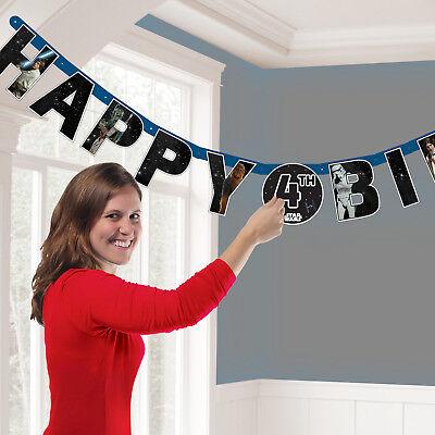 Star Wars Happy Birthday add own AGE Banner Party Decoration Star Wars Bunting ()