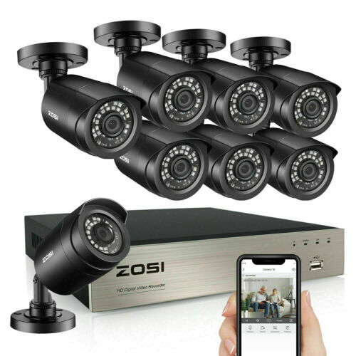 ZOSI 8CH H.265+ 1080P HDMI DVR 2MP Outdoor Surveillance Security Camera System