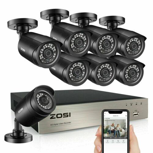 ZOSI 8CH H.265+ 1080P HDMI DVR 2MP Outdoor Surveillance Secu
