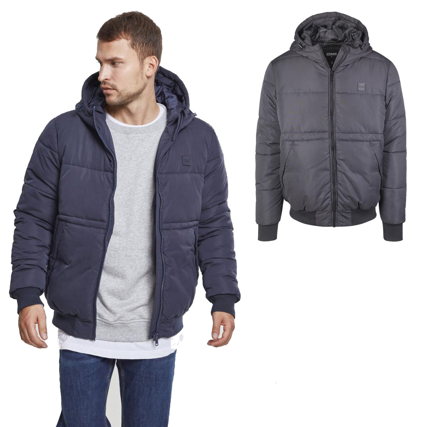Details about Urban Classics Hooded Peach Puffer Winter Jacket Basic Quilted down Blanko
