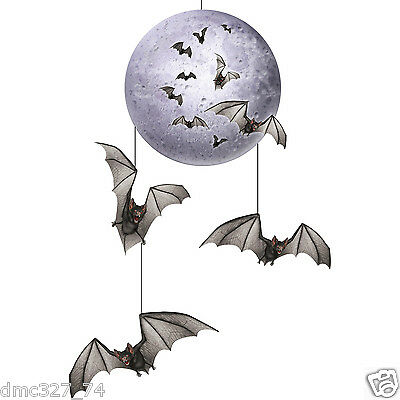 HALLOWEEN Party Decoration Prop Spooky Vampire BAT FULL MOON HANGING -