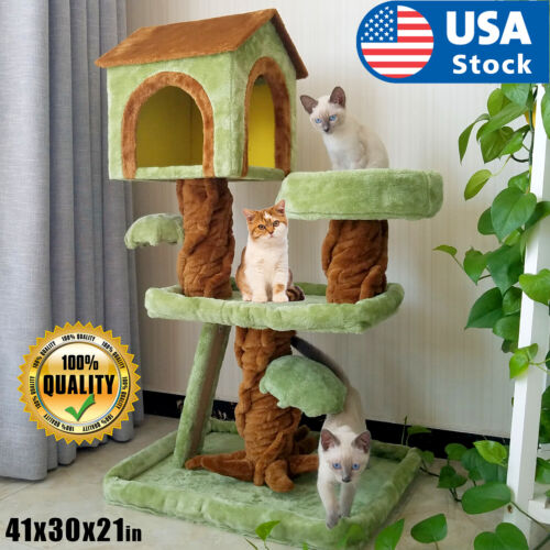 Cat tree Tower Great For Multiple Cats Scratcher Play House Condo Pet House 41""