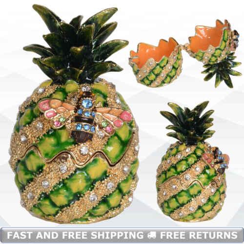 Pineapple Vintage Pewter Trinket Box With Hinged Lid Bejeweled Crystals Ornament