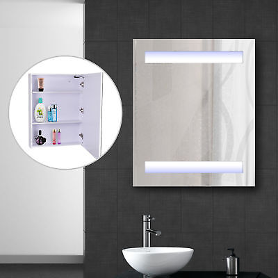 - LED Wall Cabinet Mirror Wall Mounted Bathroom Medicine Cabinet w/ 3 Compartments