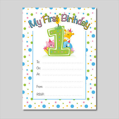 'My 1st Birthday' Party Invitation - 16 A6 Cards - Ideal for Kids Birthday Boys