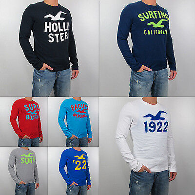 New HOLLISTER By Abercrombie Men Muscle Fit Little Dume Long Sleeve Shirt
