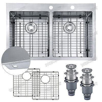 Primart 33x22x10 Inch 16 Ga Double Topmount Stainless Steel Drop In Kitchen Sink
