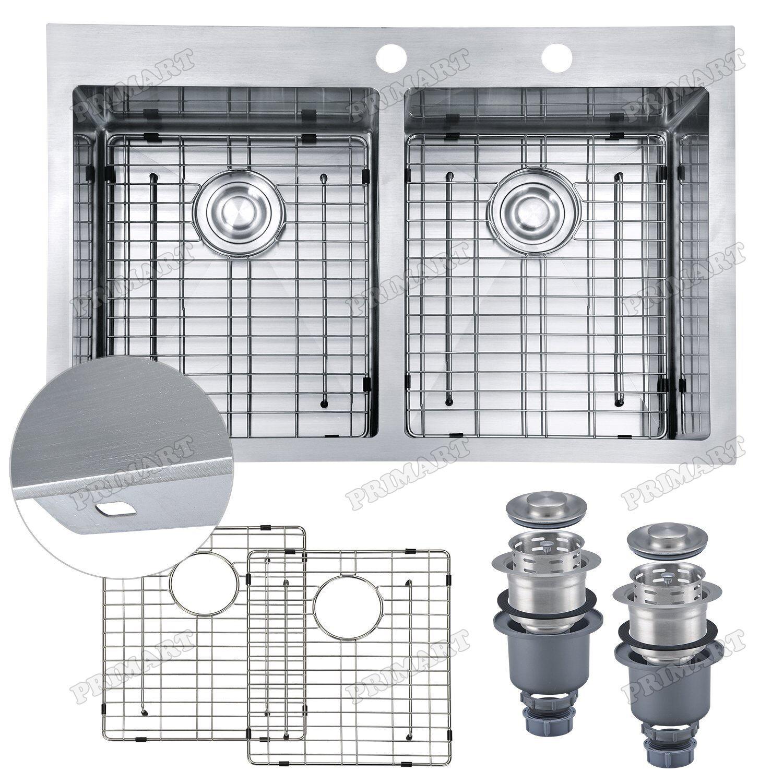 Primart 33 x 22 x 10 Inch 50/50 Top mount Kitchen Sinks Drop