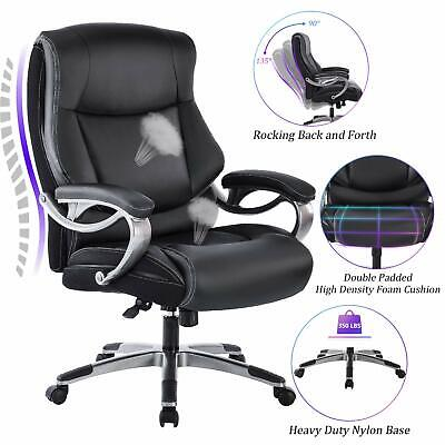 Reficcer Big Tall High Back Executive Office Chair - Bonded Leather Desk Chair