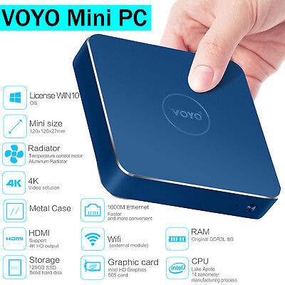Voyo Vmac Mini PC Windows 10 8GB Quad Core Desktop Computer HDMI SSD WiFi Box MY