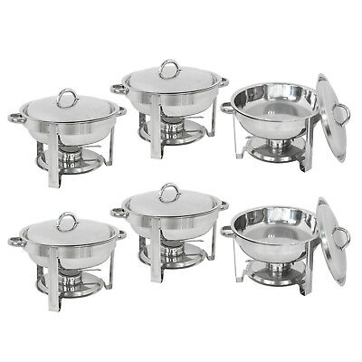 6-pack Round Chafing Dish Buffet Chafer Warmer Stainless Steel Set Wlid 5 Quart