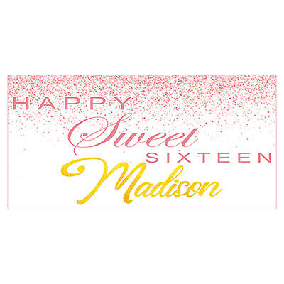 Sweet 16 Banners (Rose Gold Sweet 16 Party Personalized Birthday Banner, Sweet 16 Party)