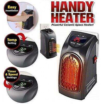 Electric Mini Wall Heater Portable Plug-in Personal Room Warmer Heating US Stock