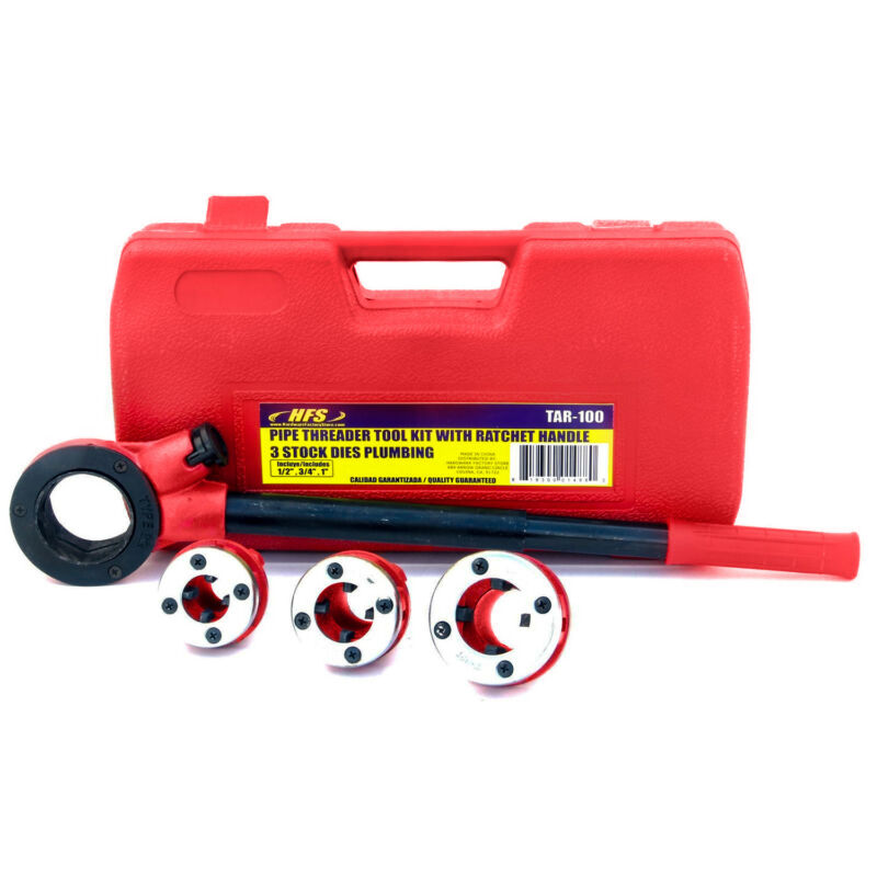 "HFS(R) Pipe Threader Tool Kit Ratchet Handle + 3 Dies Set- 1/2"", 3/4"", 1"" + Case"