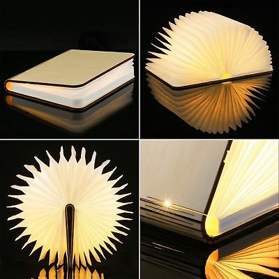 Big Portable USB Wooden Folding Book Lamp LED Night Light Art Decorative Lights
