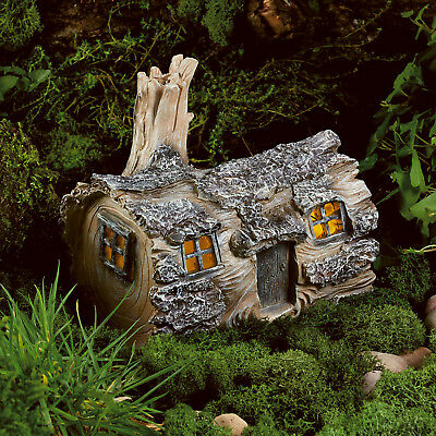 Solar Powered Garden Fairy Log House LED Outdoor Light Dwelling Home Ornament