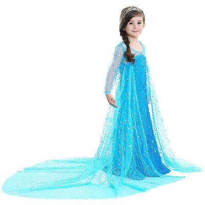 ueen Elsa Princess blue Pink Party Dress Gown Costume ZG9 (Kids Frozen Kostüm)