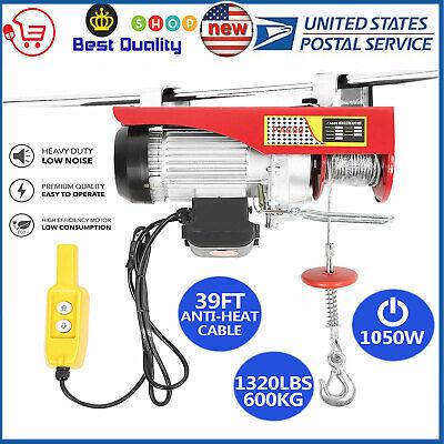 1320 Lb Electric Cable Hoist Crane Lift Garage Auto Shop Winch W/Remote 110V HOT