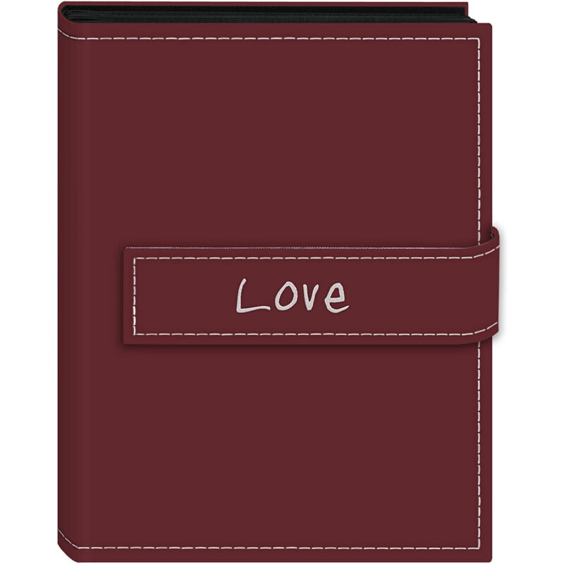 """Pioneer 4x6 Magnetic Strap Album Embroidered Burgundy Holds 36 Photos """"Love"""""""