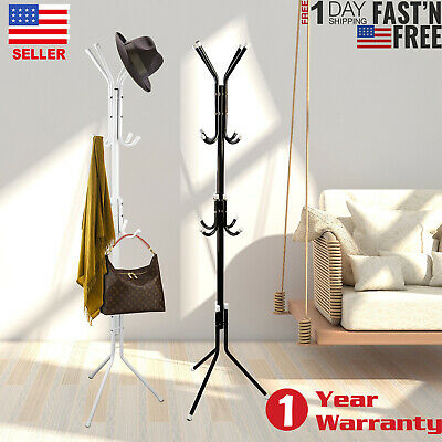 Coat Rack Hat Stand Tree Clothes Hanger Umbrella Holder Metal Organizer 12 Hooks (Coat Rack Umbrella Stand)