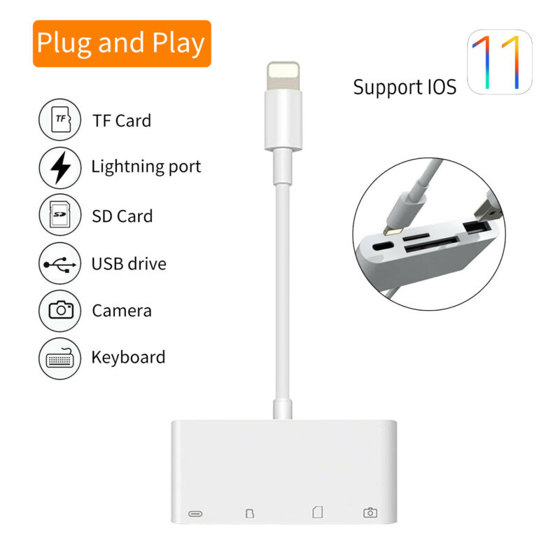 4in1 Portable to Card Reader Adapter Camera USB Micro SD Memory Slot For iOS 11