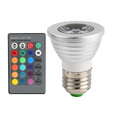 3W E27 16 Color Magic Spot Light RGB LED Bulb Lamp+ Wireless IR Remote Control