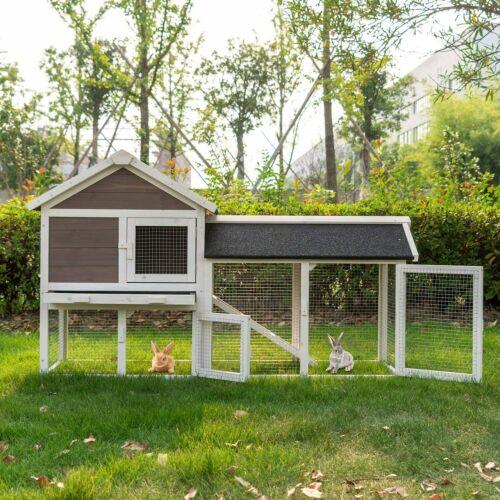 Large Wooden Rabbit Hutch Bunny Cage Chicken Animal House w/ Backyard Run Ramp
