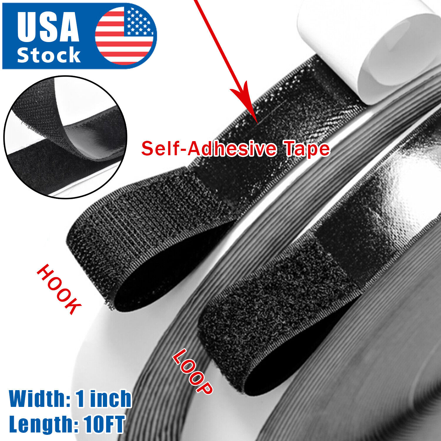 1inch 10 Feet Self Adhesive Tape Hook and Loop Fastener Extra Sticky Back USA Closures & Connectors