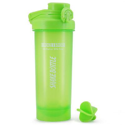 AUTO Snap Lid Shaker Bottle Blender for Protein Powder Smoothie Shaker-FullGreen