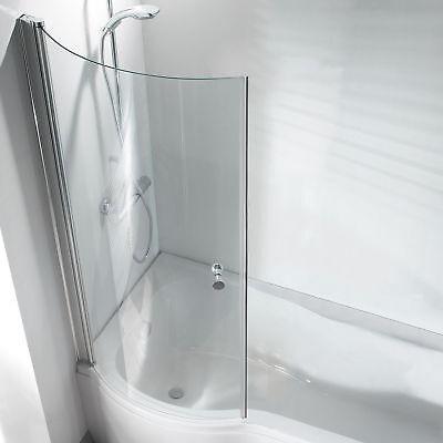 P Shape Curved Bathroom Pivot Glass Shower Bath Screen Hinged with Knob for sale  Heywood
