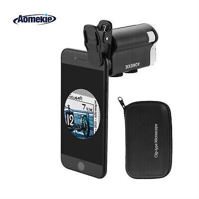 60x-100x Magnifying Glass Led Uv Light Mini Mobile Phone Clip Microscope