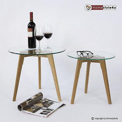 Glas Runde Sofa (Beistelltisch Couchtisch Sofatisch Glas Tisch 2er Set Wohnzimmertisch Nachttisch)