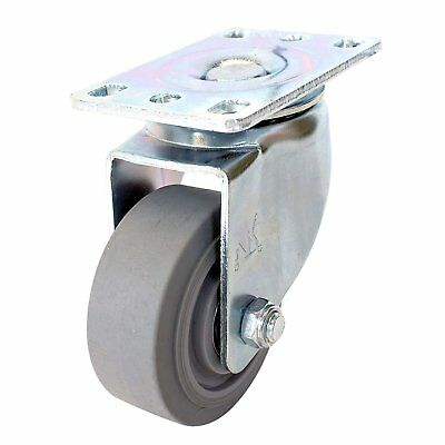 Swivel Plate Caster With 3 Non Marking Soft Gray Rubber Tpr Wheel -ctpr3ss