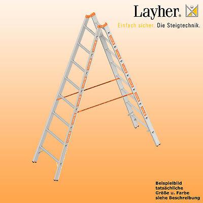 Layher Alu Sprossenstehleiter, 2x8 Spr., L=2,40m, Bockleiter Topic Typ 1039.008