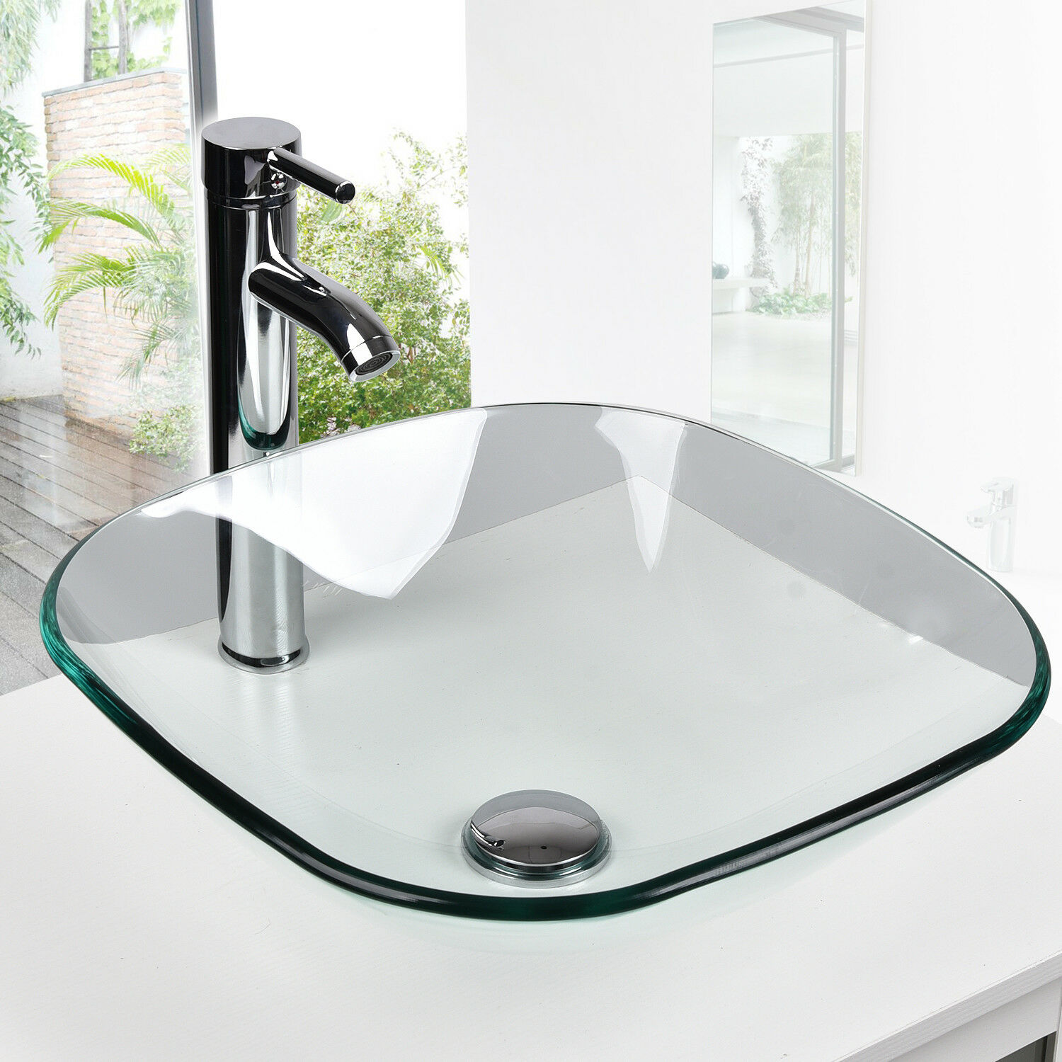 Oval Bathroom Tempered Clear Glass Vessel Sink Basin Bowl Ch