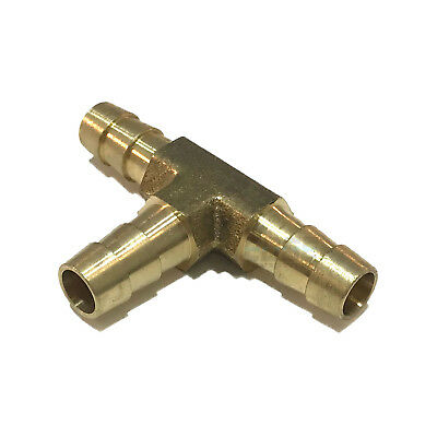 516 Hose Barb Tee Brass Pipe 3 Way T Fitting Thread Gas Fuel Water Air