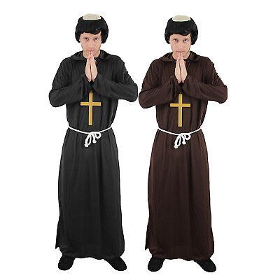 Mönch Kostüm (MÖNCHSKUTTE BRAUN ODER SCHWARZ VERKLEIDUNG FASCHING KARNEVAL KOSTÜM PARTY HEILIG)