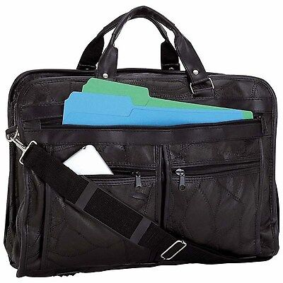 Black Genuine Leather Business Briefcase School Laptop Shoulder Messenger Bag