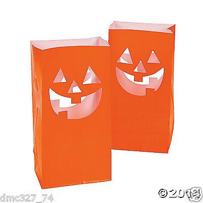 12 HALLOWEEN Party Decoration Pathway Walkway JACK O LANTERN LUMINARY BAGS  - Halloween Paper Luminaries